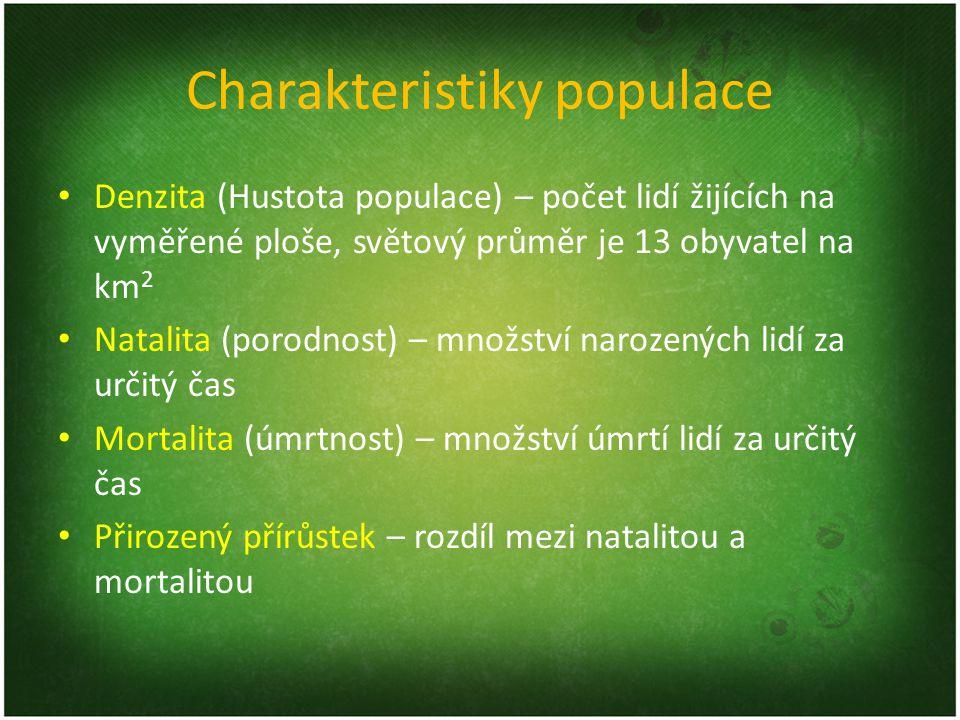 Charakteristiky populace Denzita (Hustota populace) – počet lidí žijících na vyměřené ploše, světový průměr je 13 obyvatel na km 2 Natalita (porodnost