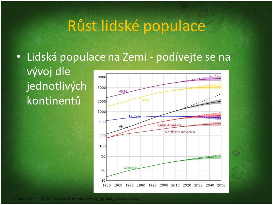 Růst lidské populace Lidská populace na Zemi - podívejte se na vývoj dle jednotlivých kontinentů [1 - zdroj. 2011-15-07].