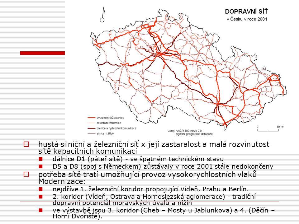  hustá silniční a železniční síť x její zastaralost a malá rozvinutost sítě kapacitních komunikací dálnice D1 (páteř sítě) - ve špatném technickém stavu D5 a D8 (spoj s Německem) zůstávaly v roce 2001 stále nedokončeny  potřeba sítě tratí umožňující provoz vysokorychlostních vlaků Modernizace: nejdříve 1.