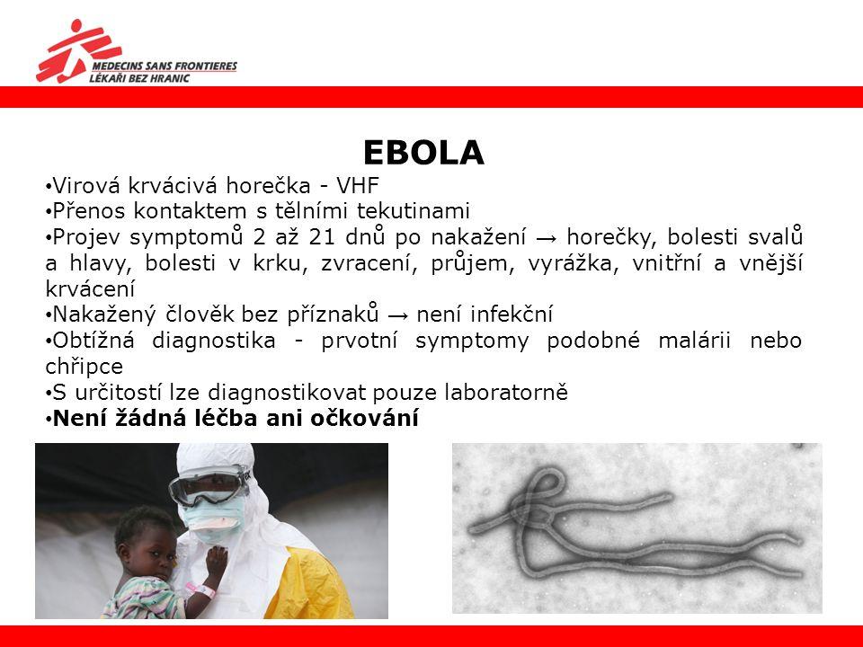 EBOLA Virová krvácivá horečka - VHF Přenos kontaktem s tělními tekutinami Projev symptomů 2 až 21 dnů po nakažení → horečky, bolesti svalů a hlavy, bo