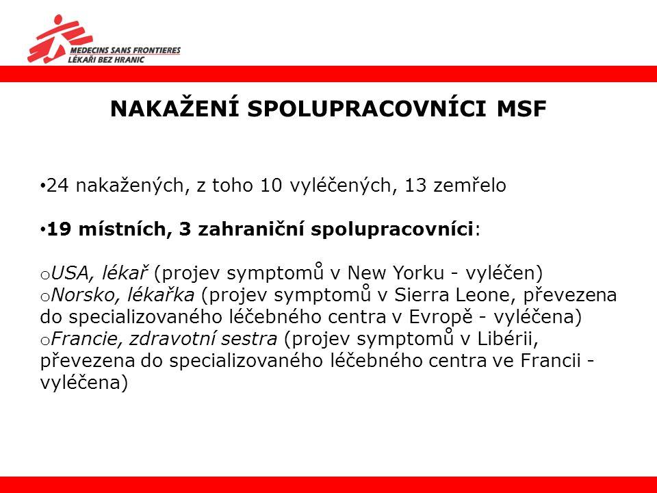 NAKAŽENÍ SPOLUPRACOVNÍCI MSF 24 nakažených, z toho 10 vyléčených, 13 zemřelo 19 místních, 3 zahraniční spolupracovníci: o USA, lékař (projev symptomů