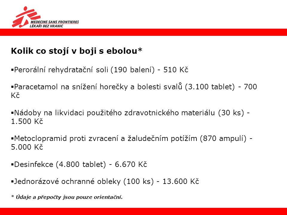 Kolik co stojí v boji s ebolou*  Perorální rehydratační soli (190 balení) - 510 Kč  Paracetamol na snížení horečky a bolesti svalů (3.100 tablet) -