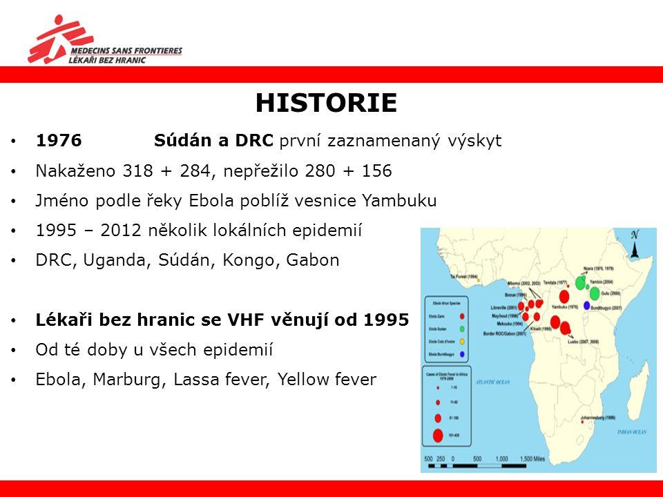 1976 Súdán a DRC první zaznamenaný výskyt Nakaženo 318 + 284, nepřežilo 280 + 156 Jméno podle řeky Ebola poblíž vesnice Yambuku 1995 – 2012 několik lo