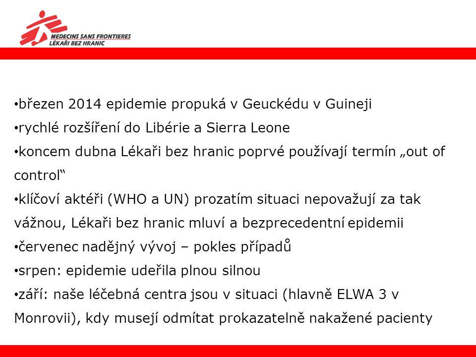 """březen 2014 epidemie propuká v Geuckédu v Guineji rychlé rozšíření do Libérie a Sierra Leone koncem dubna Lékaři bez hranic poprvé používají termín """"o"""
