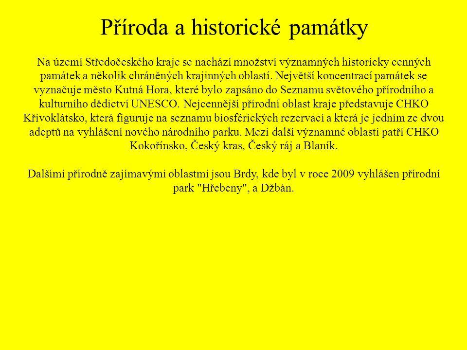 Příroda a historické památky Na území Středočeského kraje se nachází množství významných historicky cenných památek a několik chráněných krajinných ob