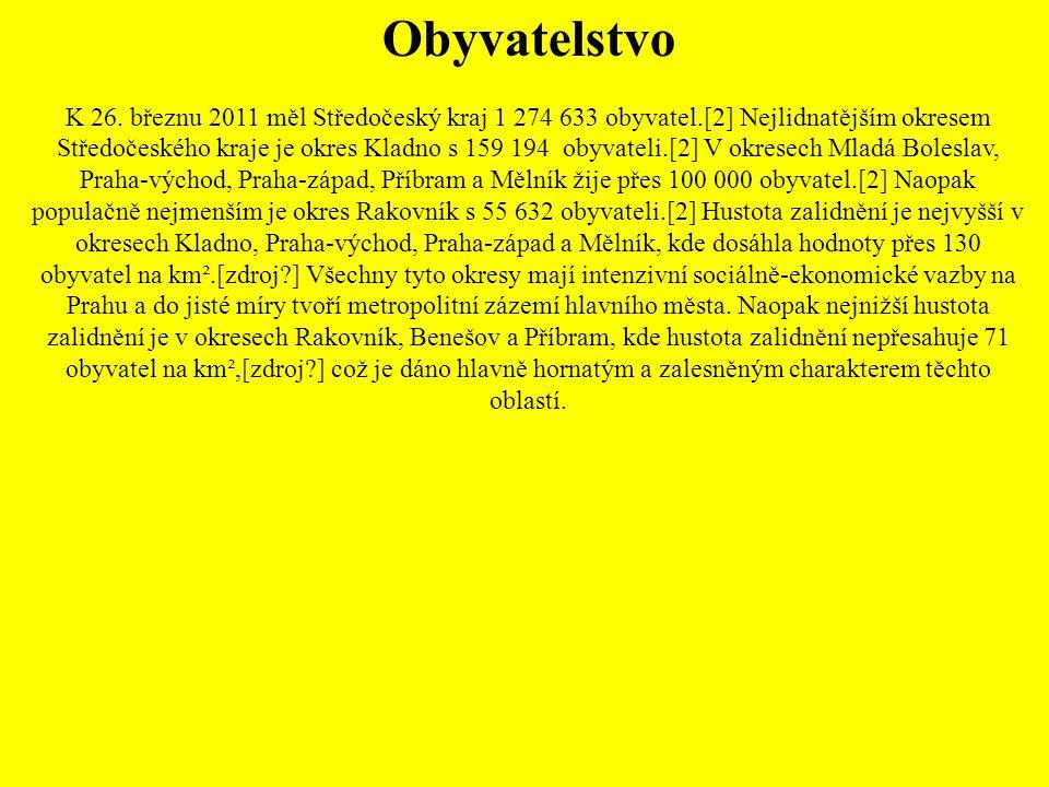 Obyvatelstvo K 26. březnu 2011 měl Středočeský kraj 1 274 633 obyvatel.[2] Nejlidnatějším okresem Středočeského kraje je okres Kladno s 159 194 obyvat