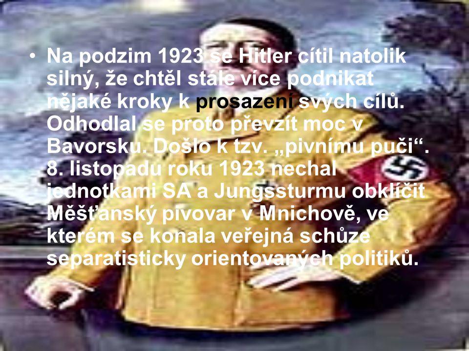 Na podzim 1923 se Hitler cítil natolik silný, že chtěl stále více podnikat nějaké kroky k prosazení svých cílů. Odhodlal se proto převzít moc v Bavors