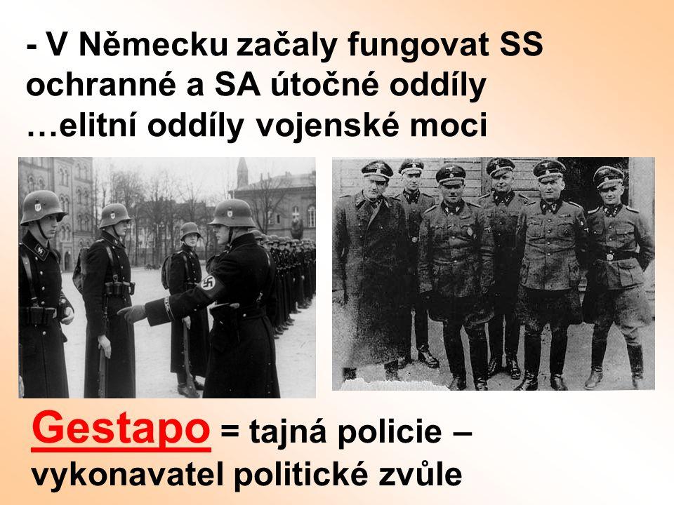 - V Německu začaly fungovat SS ochranné a SA útočné oddíly …elitní oddíly vojenské moci Gestapo = tajná policie – vykonavatel politické zvůle