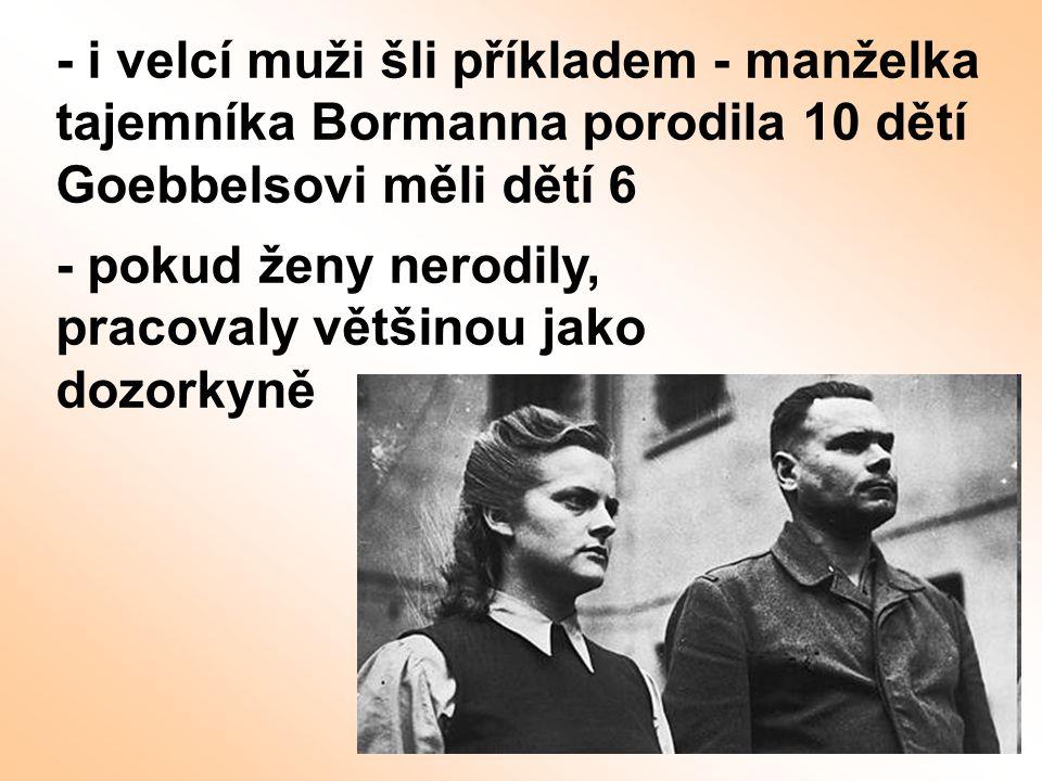 - i velcí muži šli příkladem - manželka tajemníka Bormanna porodila 10 dětí Goebbelsovi měli dětí 6 - pokud ženy nerodily, pracovaly většinou jako doz