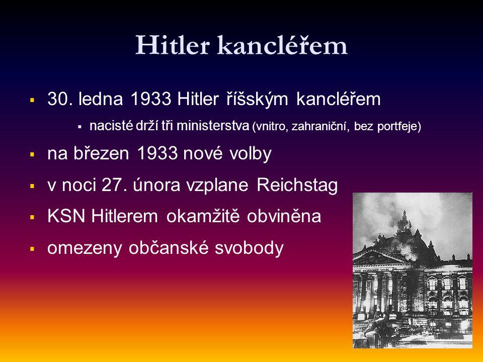 Hitler kancléřem   30. ledna 1933 Hitler říšským kancléřem   nacisté drží tři ministerstva (vnitro, zahraniční, bez portfeje)   na březen 1933 n