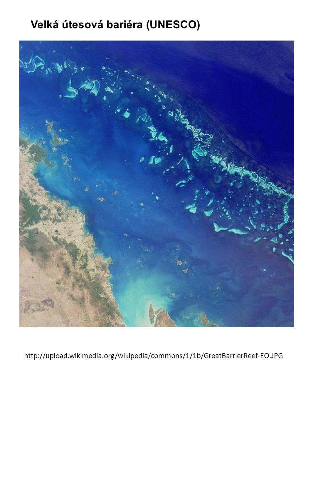 Velká útesová bariéra (UNESCO) http://upload.wikimedia.org/wikipedia/commons/1/1b/GreatBarrierReef-EO.JPG