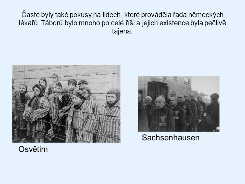 Časté byly také pokusy na lidech, které prováděla řada německých lékařů. Táborů bylo mnoho po celé říši a jejich existence byla pečlivě tajena. Osvěti