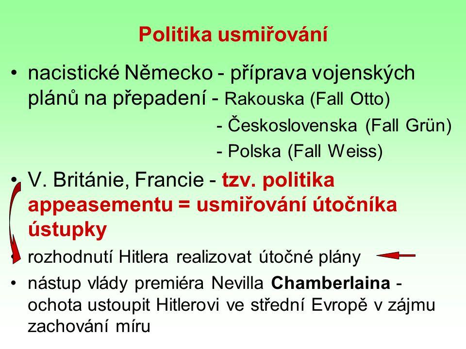 Politika usmiřování nacistické Německo - příprava vojenských plánů na přepadení - Rakouska (Fall Otto) - Československa (Fall Grün) - Polska (Fall Weiss) V.