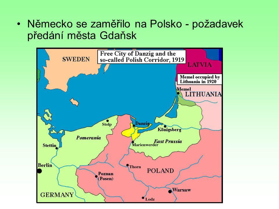 Německo se zaměřilo na Polsko - požadavek předání města Gdaňsk