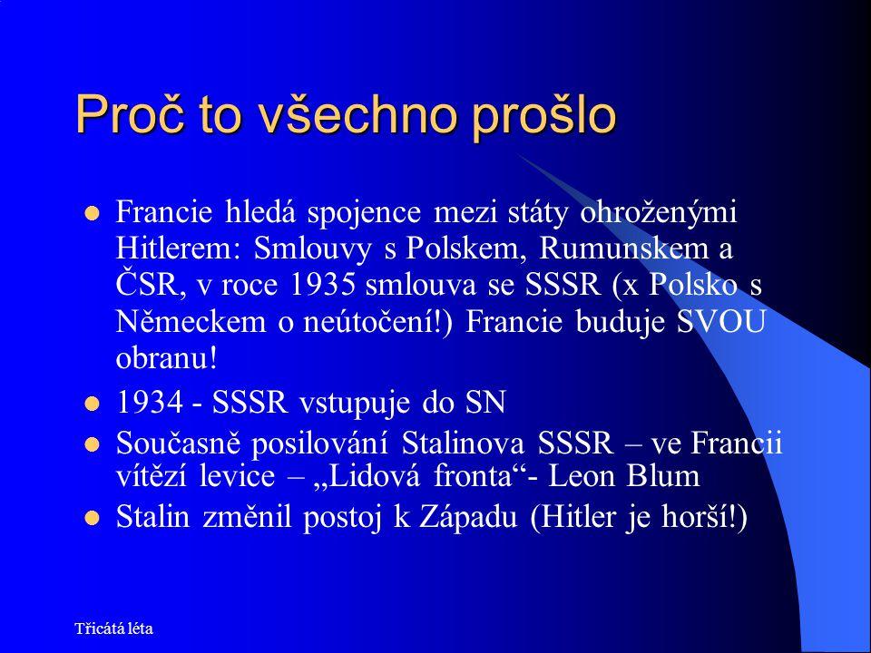 Třicátá léta Proč to všechno prošlo Francie hledá spojence mezi státy ohroženými Hitlerem: Smlouvy s Polskem, Rumunskem a ČSR, v roce 1935 smlouva se