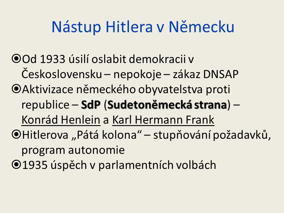Nástup Hitlera v Německu  Od 1933 úsilí oslabit demokracii v Československu – nepokoje – zákaz DNSAP SdPSudetoněmecká strana  Aktivizace německého o
