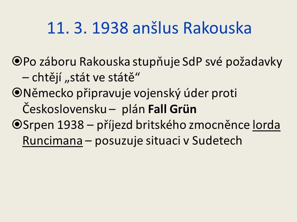 """11. 3. 1938 anšlus Rakouska  Po záboru Rakouska stupňuje SdP své požadavky – chtějí """"stát ve státě"""" Fall Grün  Německo připravuje vojenský úder prot"""