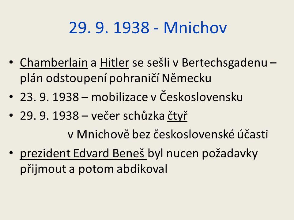 29. 9. 1938 - Mnichov Chamberlain a Hitler se sešli v Bertechsgadenu – plán odstoupení pohraničí Německu 23. 9. 1938 – mobilizace v Československu 29.