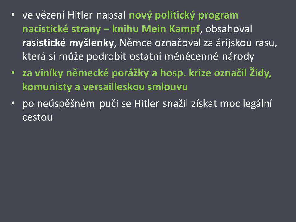 ve vězení Hitler napsal nový politický program nacistické strany – knihu Mein Kampf, obsahoval rasistické myšlenky, Němce označoval za árijskou rasu,