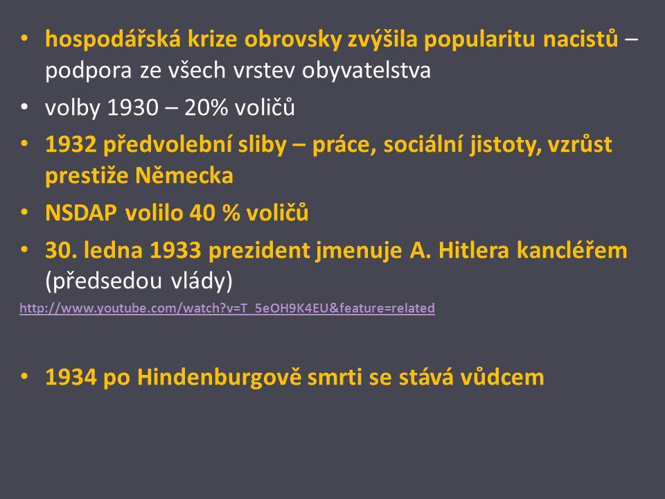 hospodářská krize obrovsky zvýšila popularitu nacistů – podpora ze všech vrstev obyvatelstva volby 1930 – 20% voličů 1932 předvolební sliby – práce, s