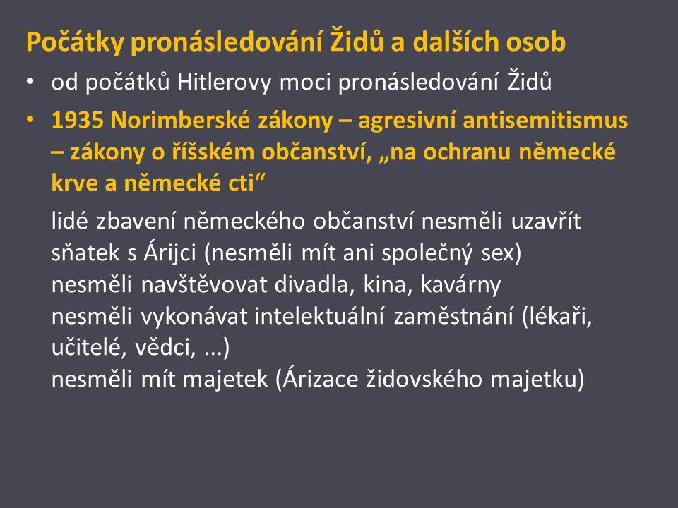 Počátky pronásledování Židů a dalších osob od počátků Hitlerovy moci pronásledování Židů 1935 Norimberské zákony – agresivní antisemitismus – zákony o