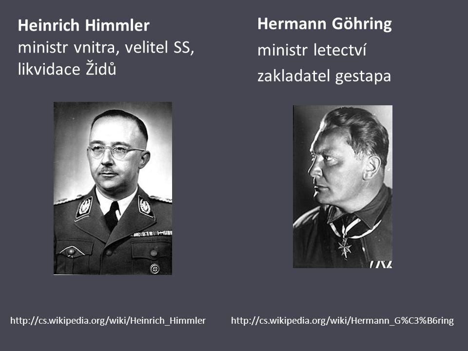 Heinrich Himmler ministr vnitra, velitel SS, likvidace Židů Hermann Göhring ministr letectví zakladatel gestapa http://cs.wikipedia.org/wiki/Heinrich_