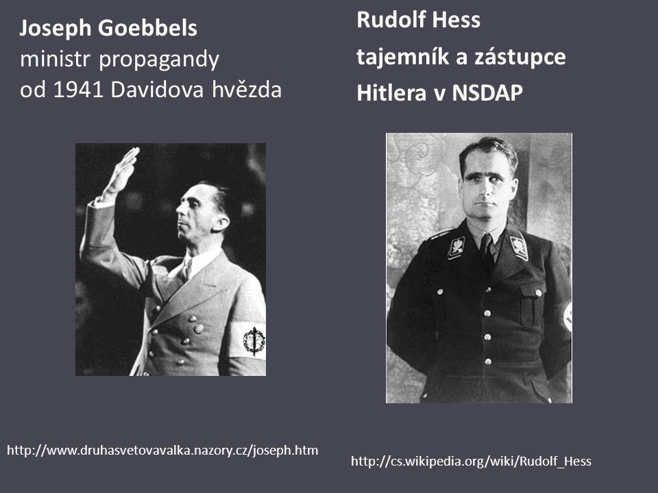 Joseph Goebbels ministr propagandy od 1941 Davidova hvězda Rudolf Hess tajemník a zástupce Hitlera v NSDAP http://www.druhasvetovavalka.nazory.cz/jose