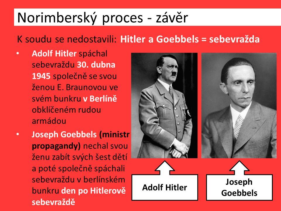 K soudu se nedostavili: Hitler a Goebbels = sebevražda Norimberský proces - závěr Adolf Hitler spáchal sebevraždu 30.