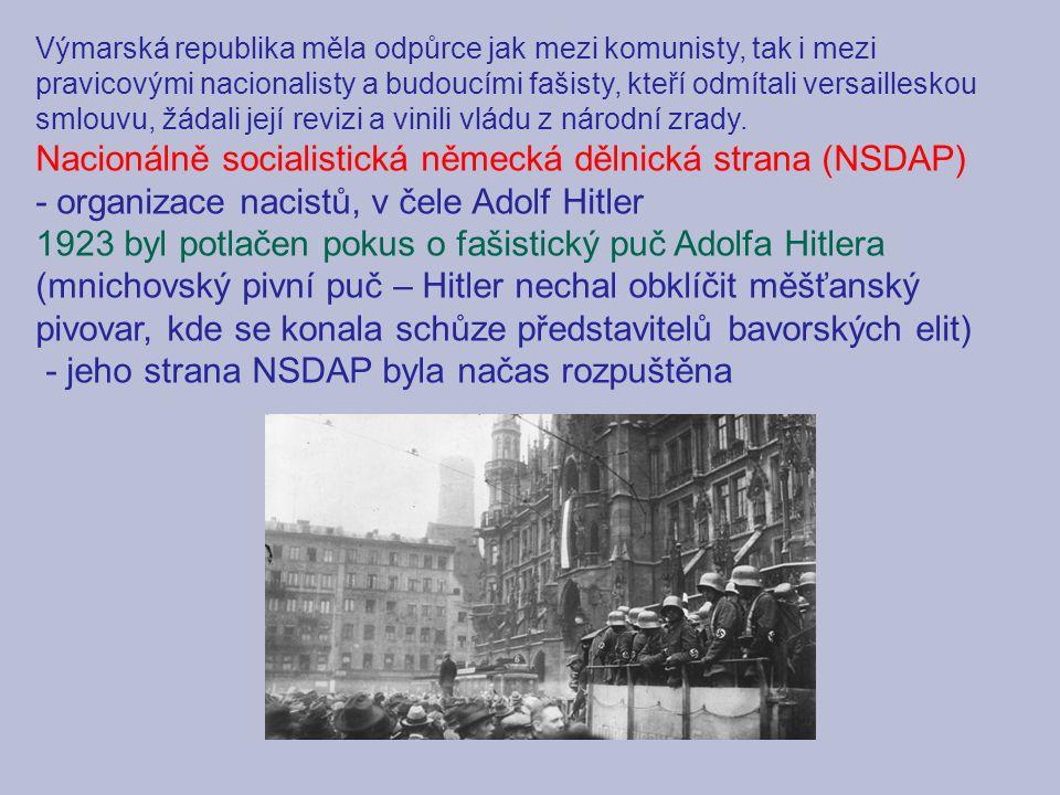 Výmarská republika měla odpůrce jak mezi komunisty, tak i mezi pravicovými nacionalisty a budoucími fašisty, kteří odmítali versailleskou smlouvu, žádali její revizi a vinili vládu z národní zrady.