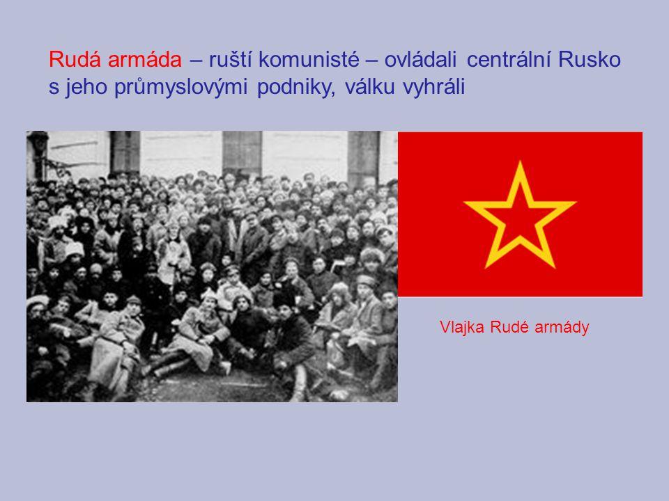 Rudá armáda – ruští komunisté – ovládali centrální Rusko s jeho průmyslovými podniky, válku vyhráli Vlajka Rudé armády