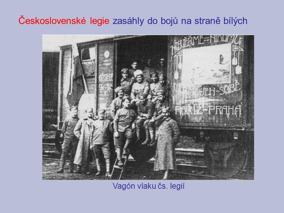 Vagón vlaku čs. legií Československé legie zasáhly do bojů na straně bílých