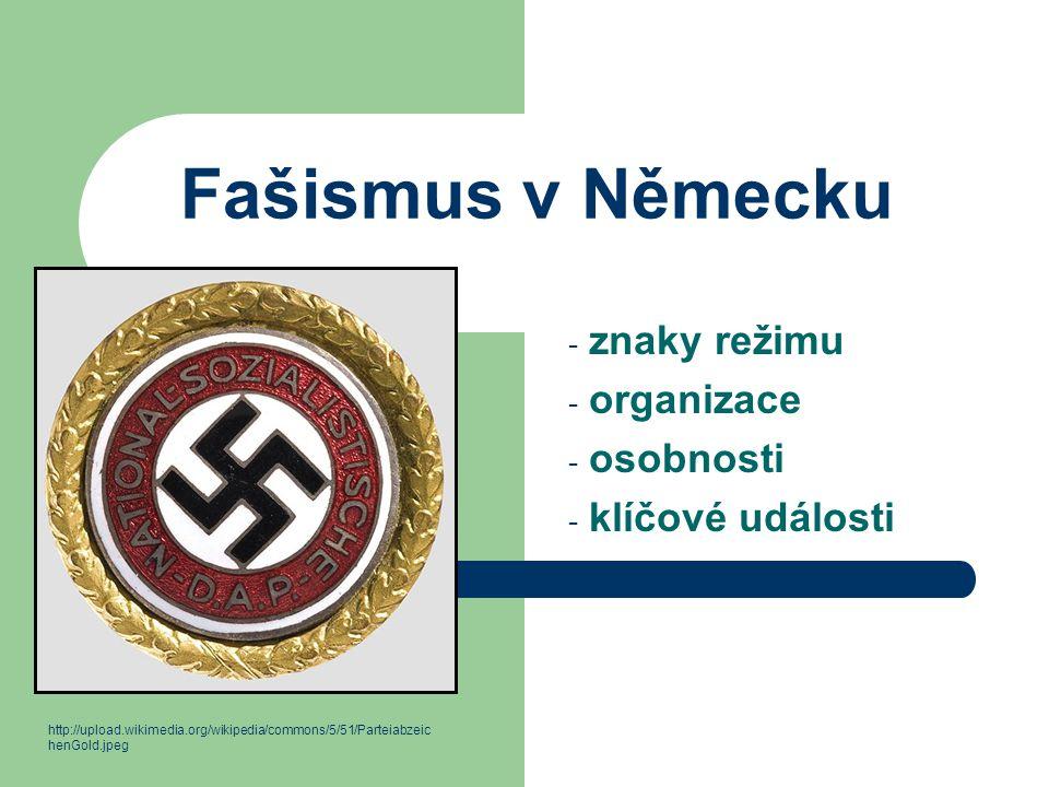 Fašismus v Německu - znaky režimu - organizace - osobnosti - klíčové události http://upload.wikimedia.org/wikipedia/commons/5/51/Parteiabzeic henGold.