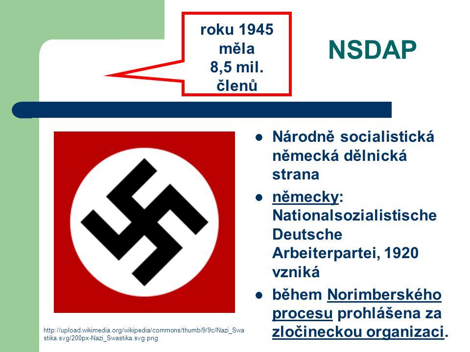 NSDAP Národně socialistická německá dělnická strana německy: Nationalsozialistische Deutsche Arbeiterpartei, 1920 vzniká německy během Norimberského p