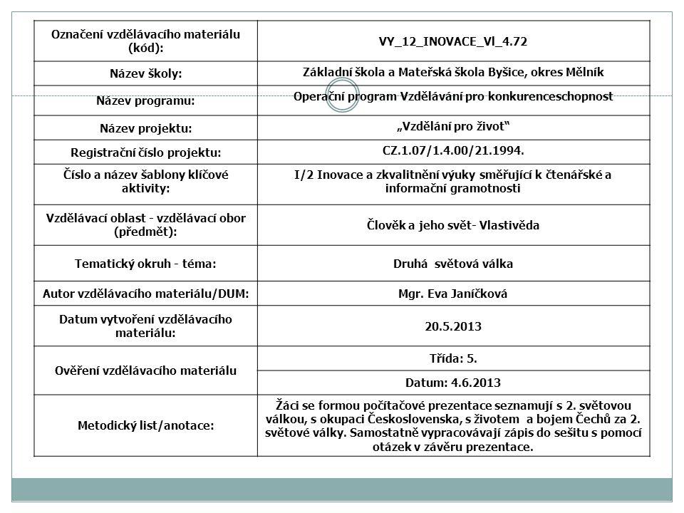 Označení vzdělávacího materiálu (kód): VY_12_INOVACE_Vl_4.72 Název školy: Základní škola a Mateřská škola Byšice, okres Mělník Název programu: Operačn