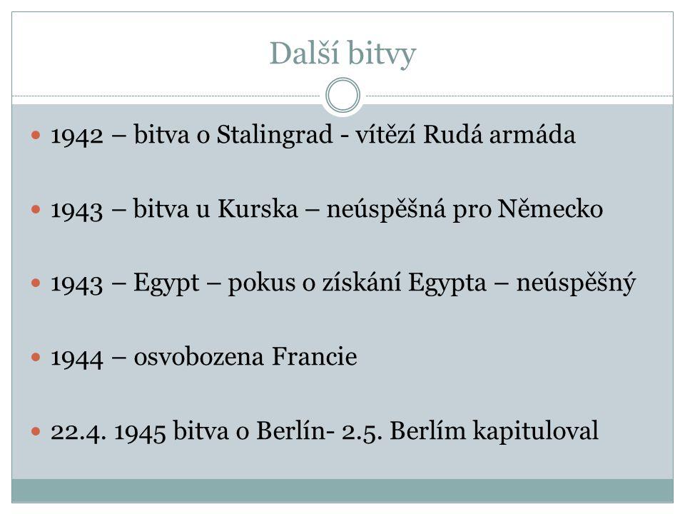 Další bitvy 1942 – bitva o Stalingrad - vítězí Rudá armáda 1943 – bitva u Kurska – neúspěšná pro Německo 1943 – Egypt – pokus o získání Egypta – neúsp