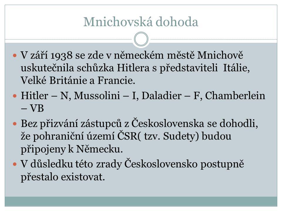 Mnichovská dohoda V září 1938 se zde v německém městě Mnichově uskutečnila schůzka Hitlera s představiteli Itálie, Velké Británie a Francie. Hitler –
