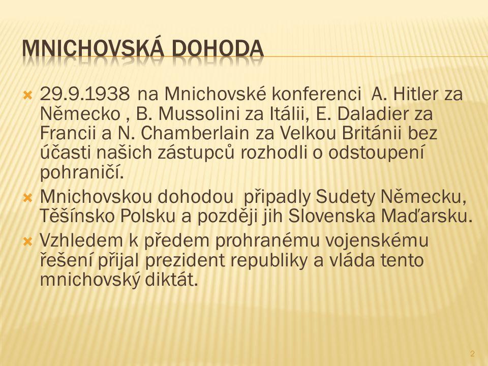  29.9.1938 na Mnichovské konferenci A. Hitler za Německo, B.