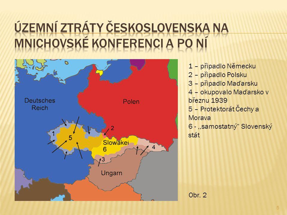 5 1 – připadlo Německu 2 – připadlo Polsku 3 – připadlo Maďarsku 4 – okupovalo Maďarsko v březnu 1939 5 – Protektorát Čechy a Morava 6 -,,samostatný Slovenský stát Obr.