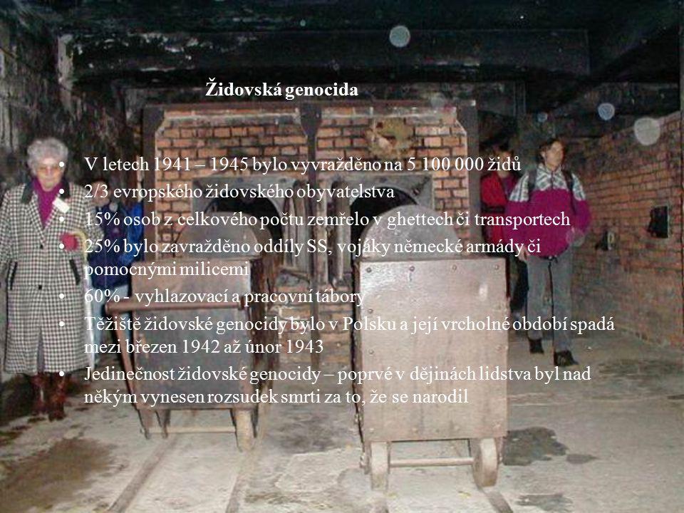 Židovská genocida V letech 1941 – 1945 bylo vyvražděno na 5 100 000 židů 2/3 evropského židovského obyvatelstva 15% osob z celkového počtu zemřelo v ghettech či transportech 25% bylo zavražděno oddíly SS, vojáky německé armády či pomocnými milicemi 60% - vyhlazovací a pracovní tábory Těžiště židovské genocidy bylo v Polsku a její vrcholné období spadá mezi březen 1942 až únor 1943 Jedinečnost židovské genocidy – poprvé v dějinách lidstva byl nad někým vynesen rozsudek smrti za to, že se narodil