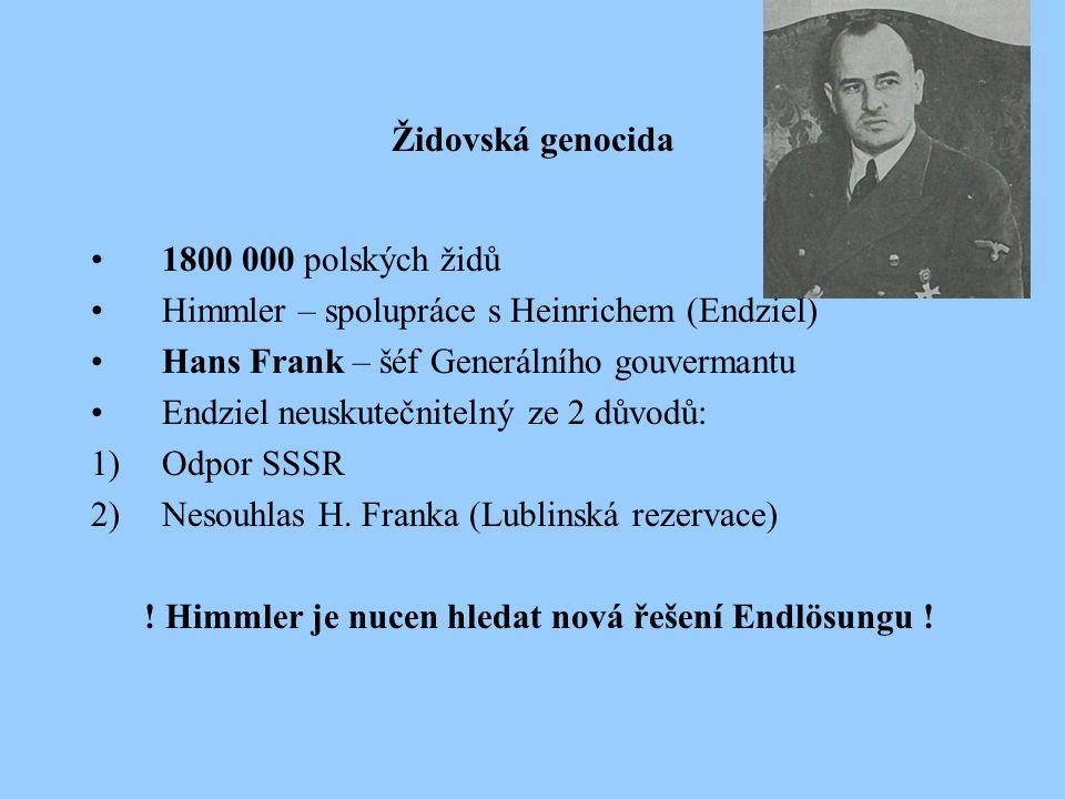 Židovská genocida 1800 000 polských židů Himmler – spolupráce s Heinrichem (Endziel) Hans Frank – šéf Generálního gouvermantu Endziel neuskutečnitelný ze 2 důvodů: 1)Odpor SSSR 2)Nesouhlas H.