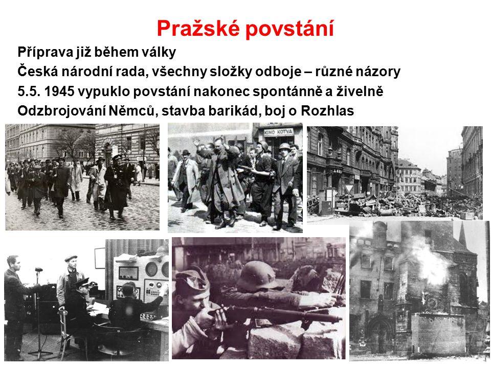 Pražské povstání Příprava již během války Česká národní rada, všechny složky odboje – různé názory 5.5. 1945 vypuklo povstání nakonec spontánně a žive