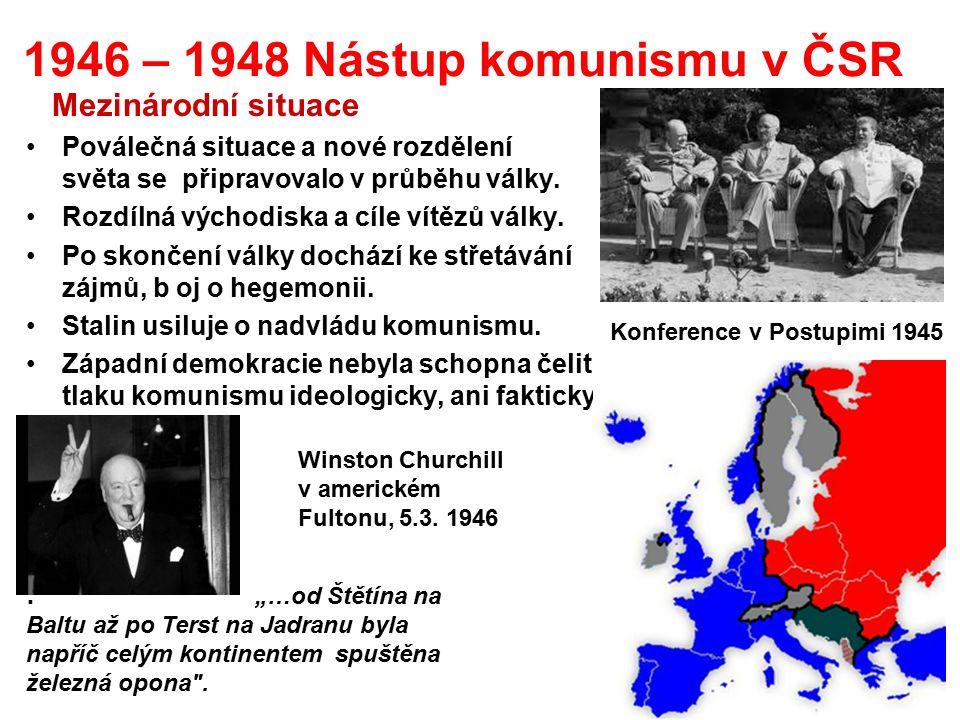 1946 – 1948 Nástup komunismu v ČSR Mezinárodní situace Poválečná situace a nové rozdělení světa se připravovalo v průběhu války. Rozdílná východiska a