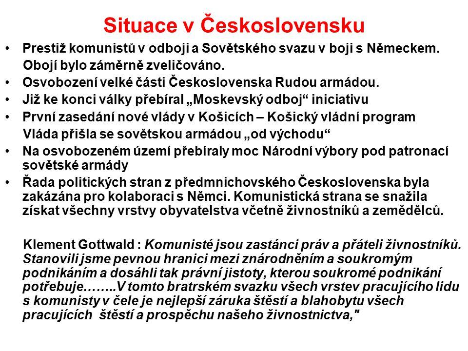 Situace v Československu Prestiž komunistů v odboji a Sovětského svazu v boji s Německem. Obojí bylo záměrně zveličováno. Osvobození velké části Česko