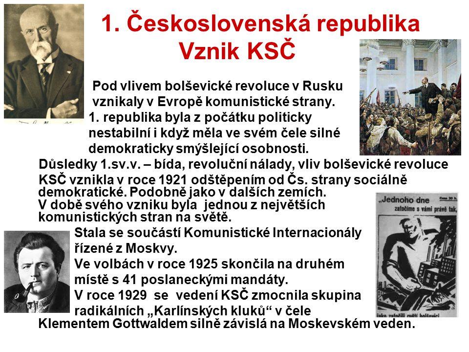 1. Československá republika Vznik KSČ Pod vlivem bolševické revoluce v Rusku vznikaly v Evropě komunistické strany. 1. republika byla z počátku politi