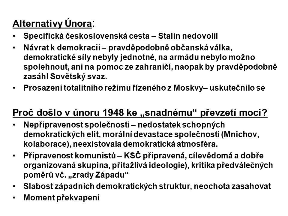 Alternativy Února : Specifická československá cesta – Stalin nedovolil Návrat k demokracii – pravděpodobně občanská válka, demokratické síly nebyly je