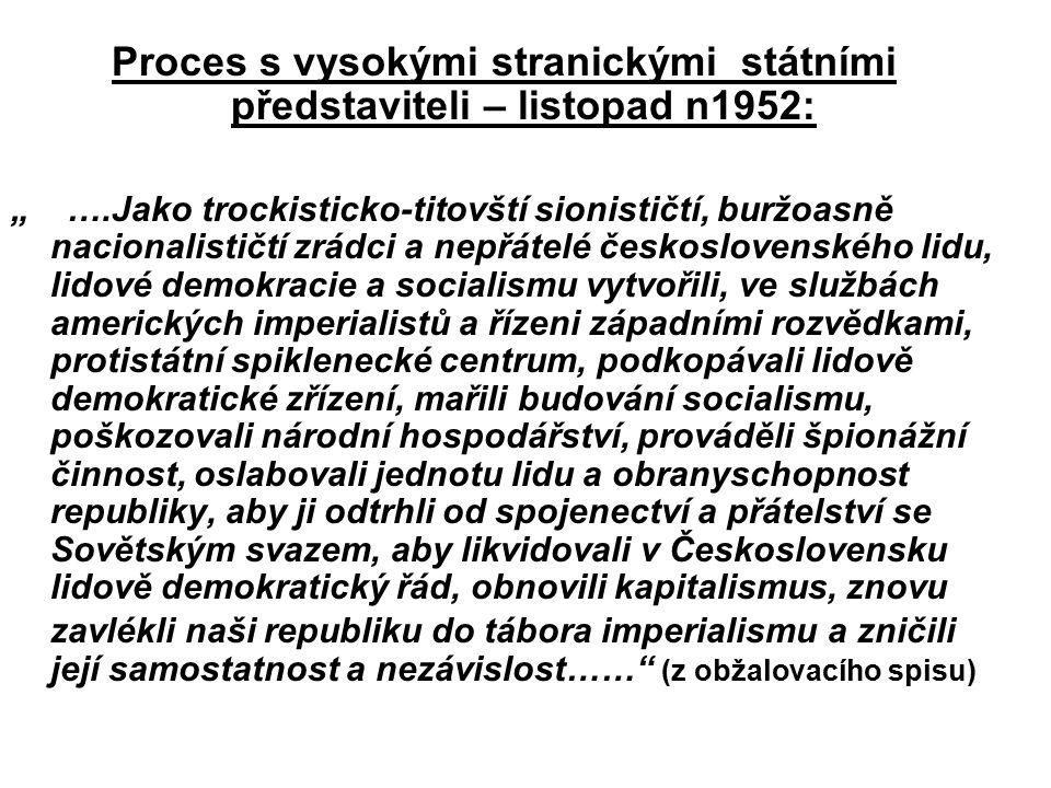 """Proces s vysokými stranickými státními představiteli – listopad n1952: """" ….Jako trockisticko-titovští sionističtí, buržoasně nacionalističtí zrádci a"""