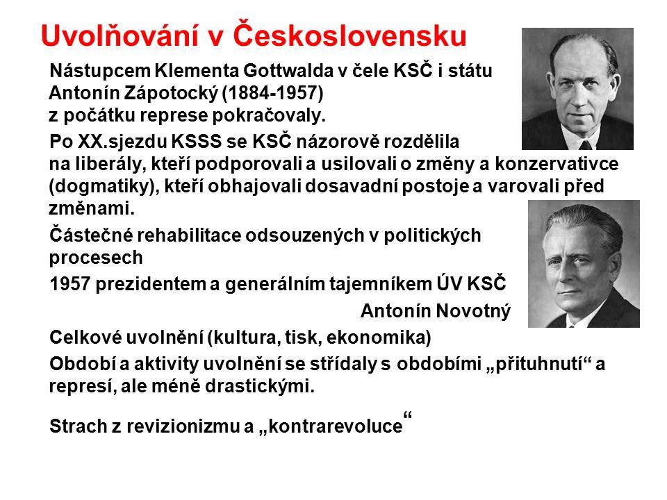 Uvolňování v Československu Nástupcem Klementa Gottwalda v čele KSČ i státu Antonín Zápotocký (1884-1957) z počátku represe pokračovaly. Po XX.sjezdu