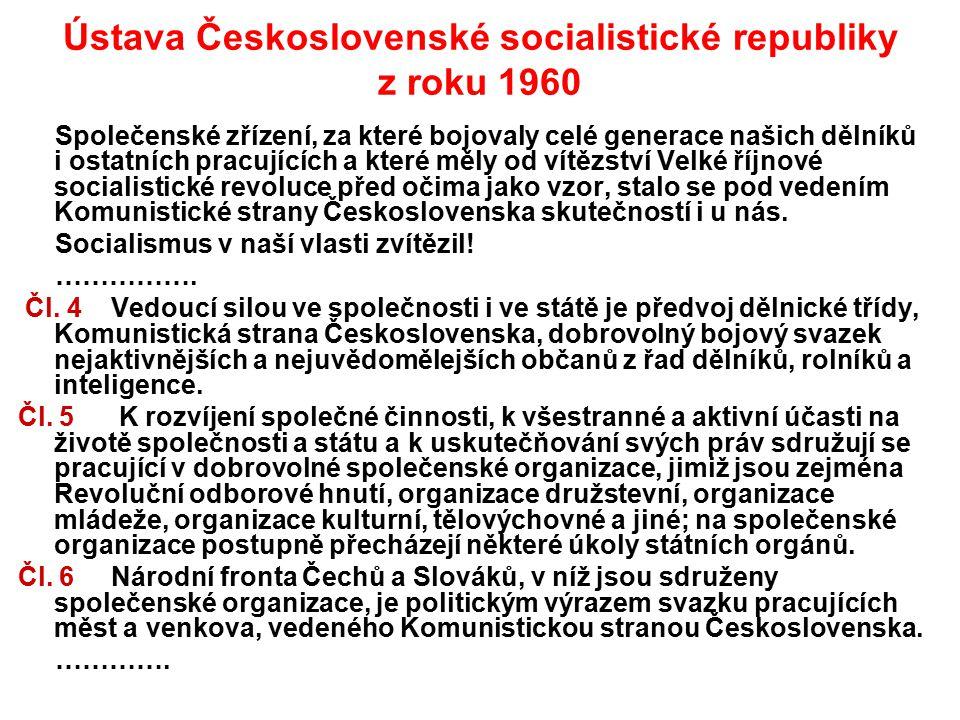 Ústava Československé socialistické republiky z roku 1960 Společenské zřízení, za které bojovaly celé generace našich dělníků i ostatních pracujících