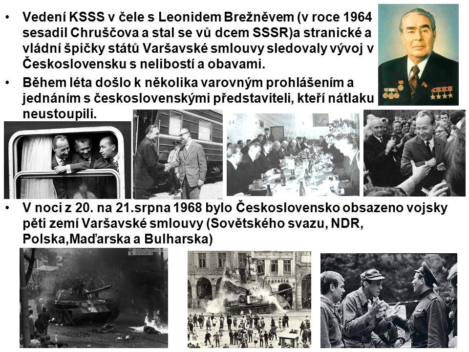 Vedení KSSS v čele s Leonidem Brežněvem (v roce 1964 sesadil Chruščova a stal se vů dcem SSSR)a stranické a vládní špičky států Varšavské smlouvy sled