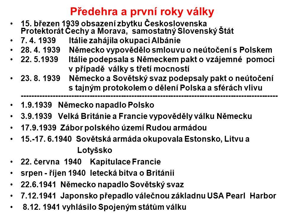 Předehra a první roky války 15. březen 1939 obsazení zbytku Československa Protektorát Čechy a Morava, samostatný Slovenský Štát 7. 4. 1939 Itálie zah
